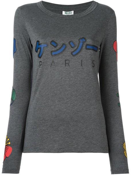Kenzo t-shirt shirt t-shirt women cotton print grey top