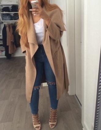 coat beige long long coat