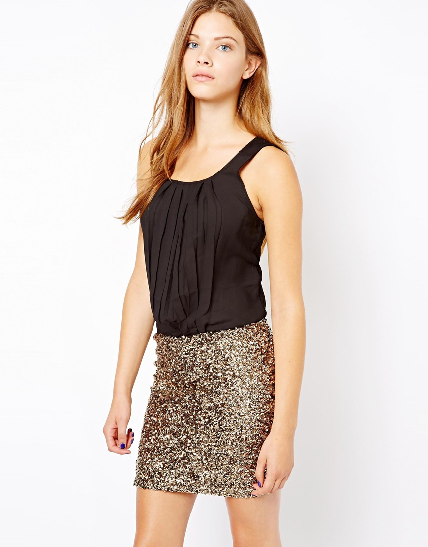 Sequin Skirt Dress at asos.com