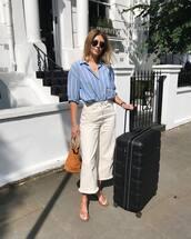 shirt,stripess,sunglasses,suitcase,pants,shoes