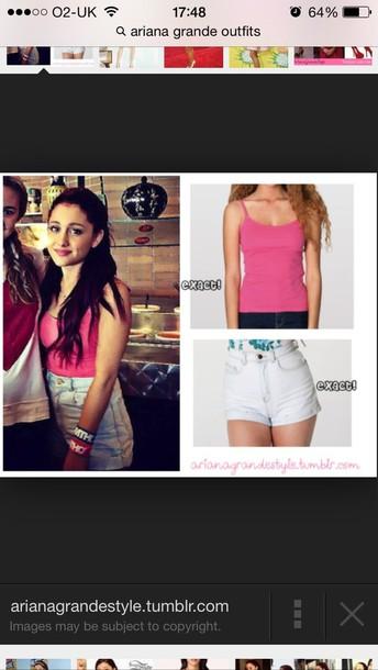 shirt pink strappy top ariana grande shorts