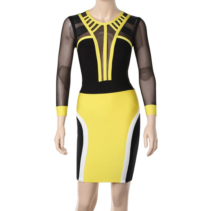 2014 Spring Women PU Dress leather YELLOW & BLACK MESH Long Sleeve Bodycon Sexy Bandage Party Dresses HL037-in Apparel & Accessories on Aliexpress.com