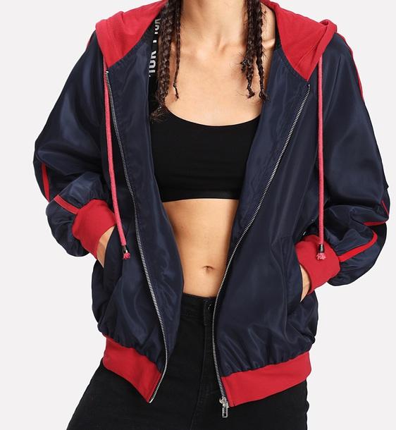 jacket girly colorblock windbreaker hoodie zip zip-up zip up jacket red black blue