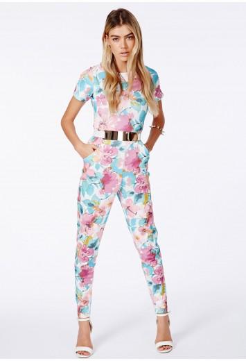 Alys floral print jumpsuit in scuba