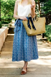 kelly in the city - a preppy chicago life,style and fashion blog,blogger,shoes,skirt,scarf,top,bag,jacket,tank top,jewels,midi skirt,blue skirt,handbag,sandals,summer outfits