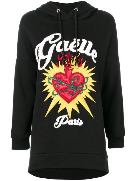 Gaelle Bonheur hoodie heart women cotton black sweater