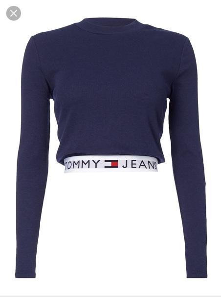 66b8530d shirt, tommy hilfiger, tommy hilfiger crop top, long, crop, cropped ...