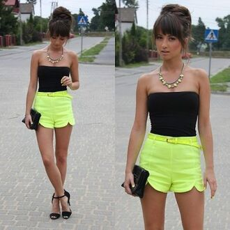 shorts boobtube bralette bustier crop tops neon neon yellow belt high waisted shorts top