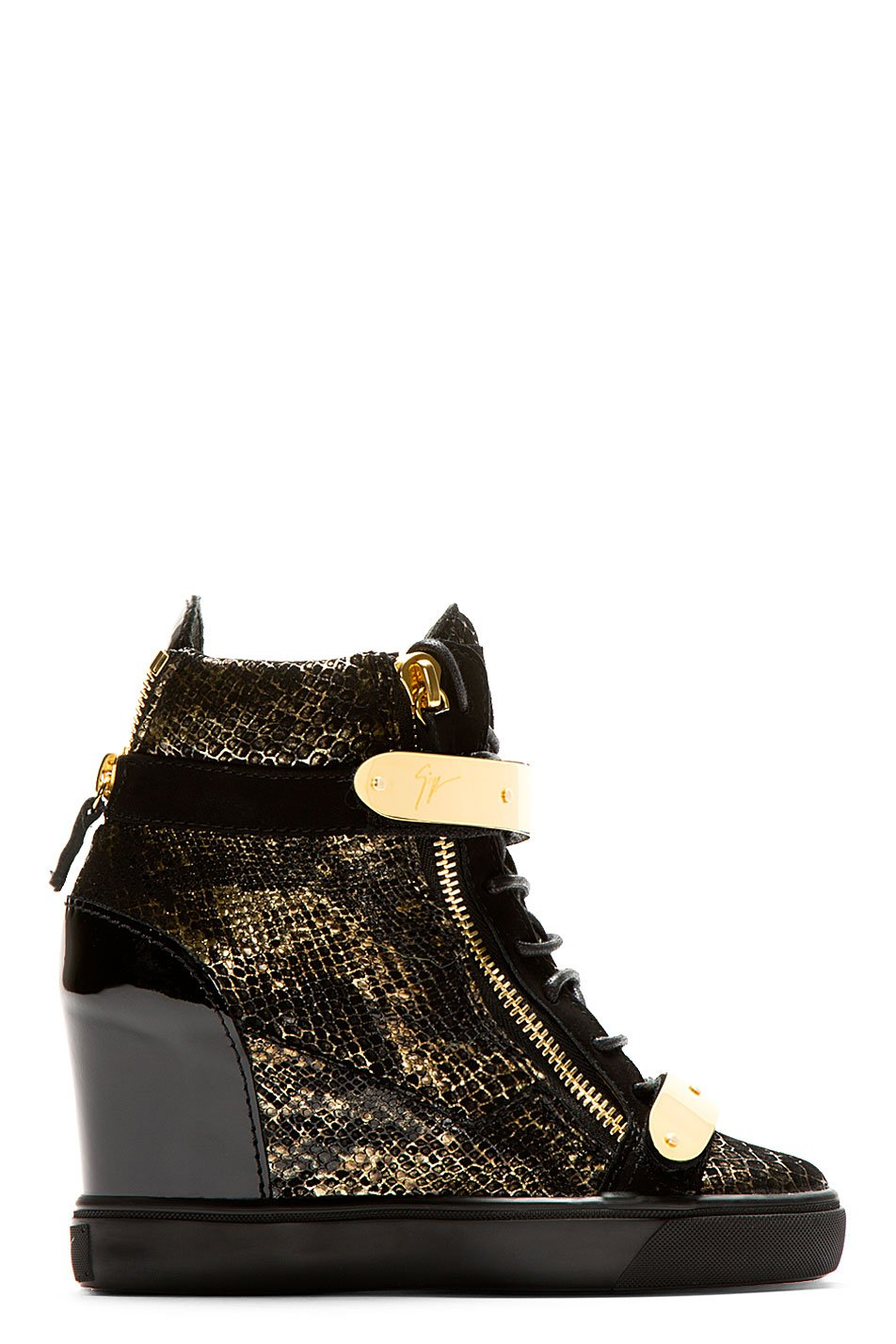 Giuseppe zanotti black and gold lorenz high_top wedge sneakers