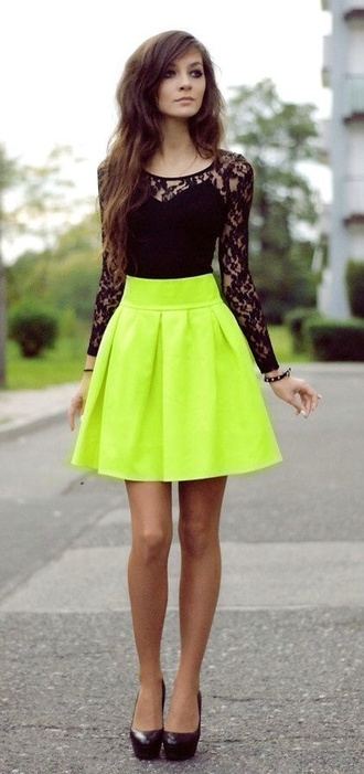 skirt neon black shirt black heels top