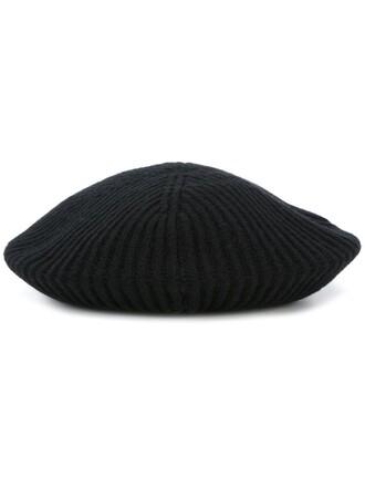 knit women beret black wool hat