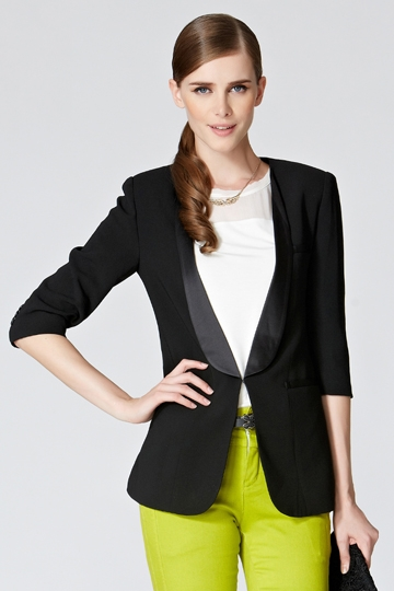 Satin Lapel Blazer with Fake Pockets in Black [FFBI0262]- US$ 44.99 - PersunMall.com