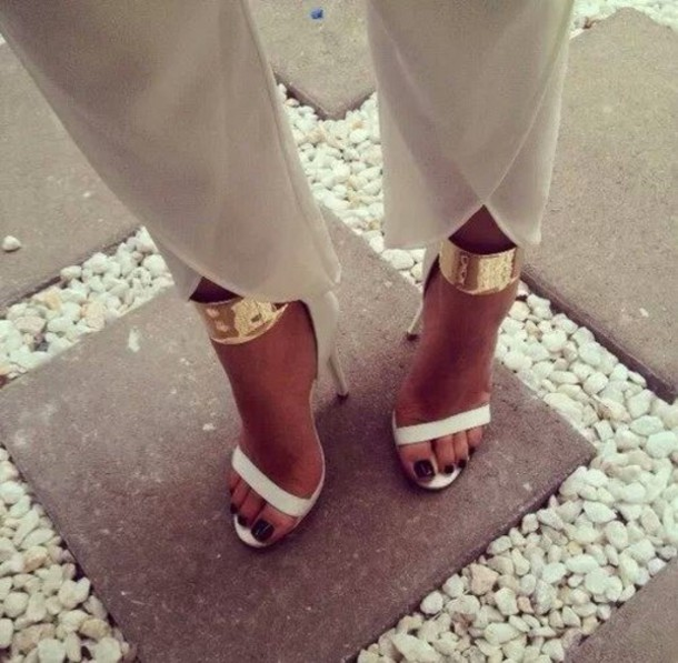 Shoes: white, gold, high heels, sandals, pants, strappy sandals ...