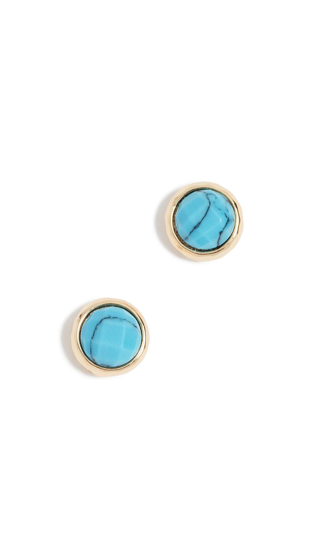 Gorjana Power Gemstone Stud Earrings in turquoise / gold