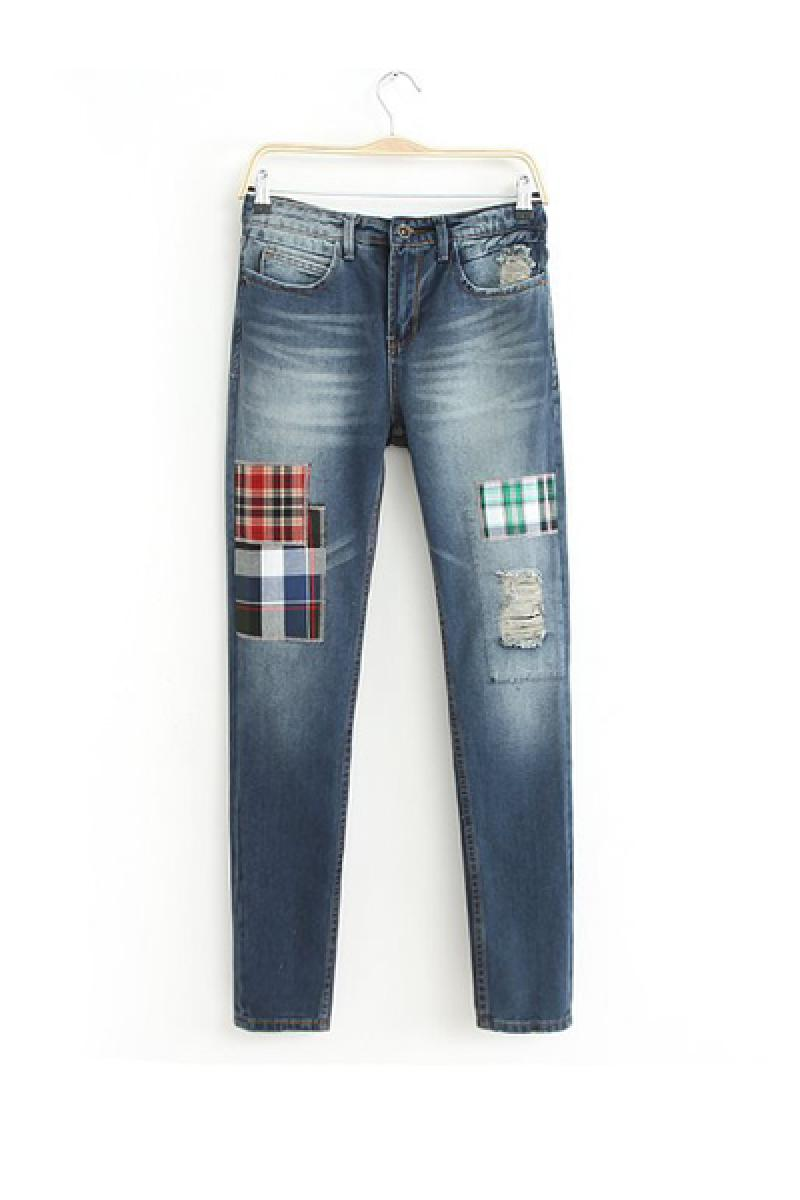 New Straight Hole Splicing Plaids Haren Pencil Pants,Cheap in Wendybox.com