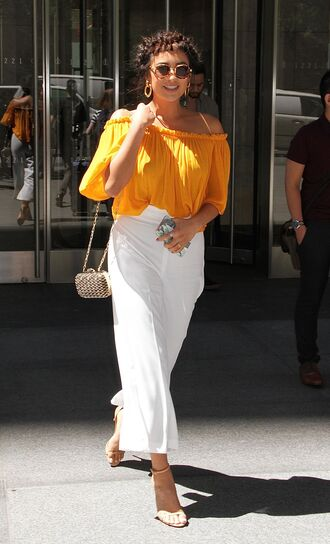blouse pants hairstyles shay mitchell sandals yellow top