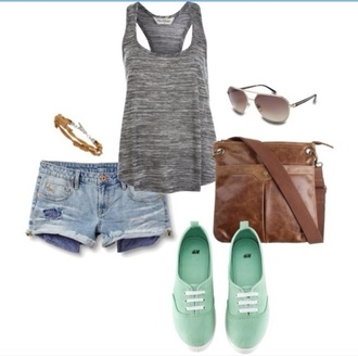 sunglasses brown leather bag overtheshoulder gray tanktop mint green shoes light denim shorts aviator sunglasses shirt tank top bag