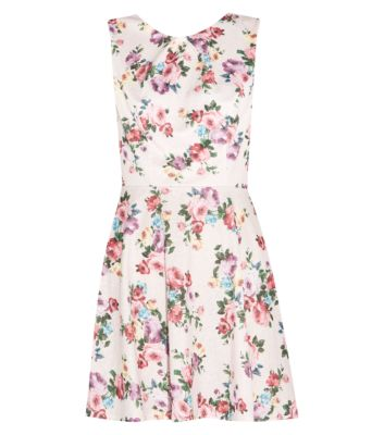 Light Pink Floral Textured Skater Dress