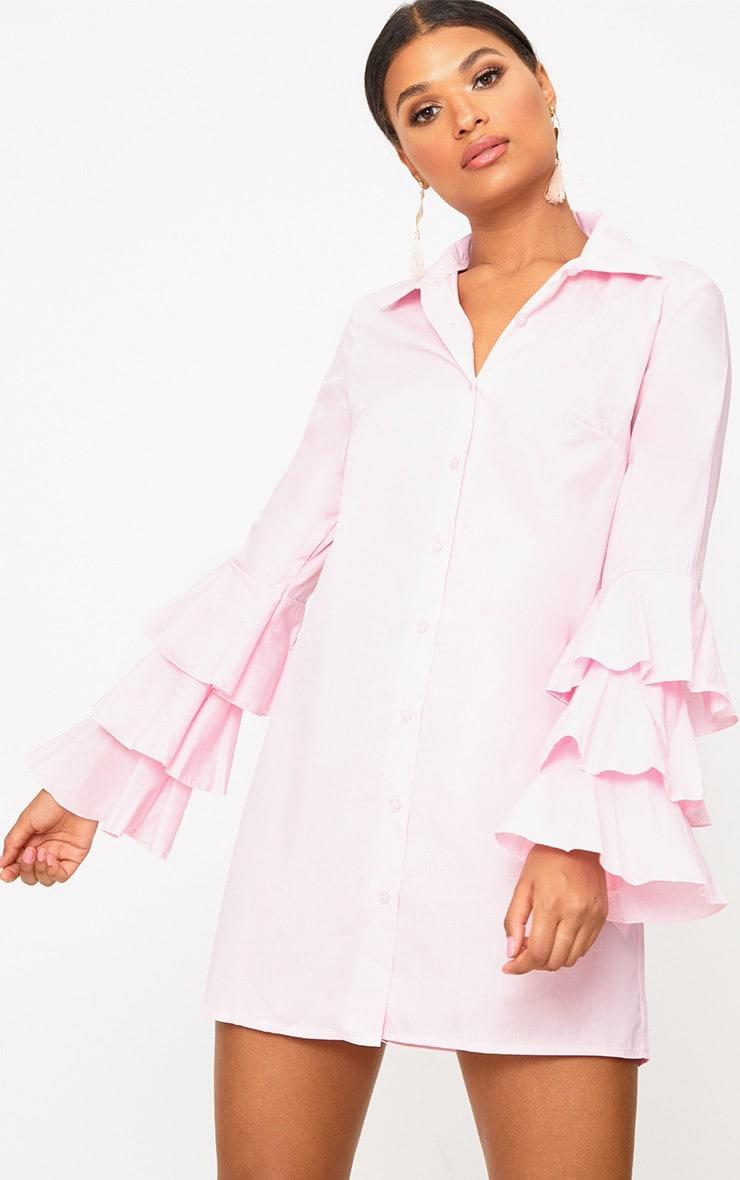 Candy Pink Triple Frill Sleeve Shirt Dress