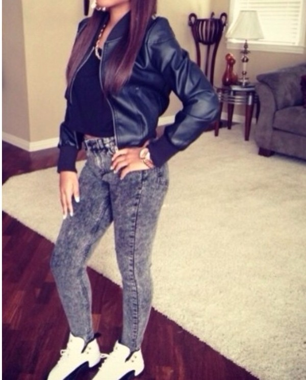 jeans jacket jordans top