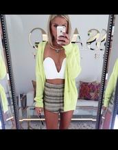 cardigan,top,yellow green,green,cardi,blouse,white