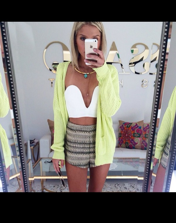cardigan top yellow green green cardi blouse white