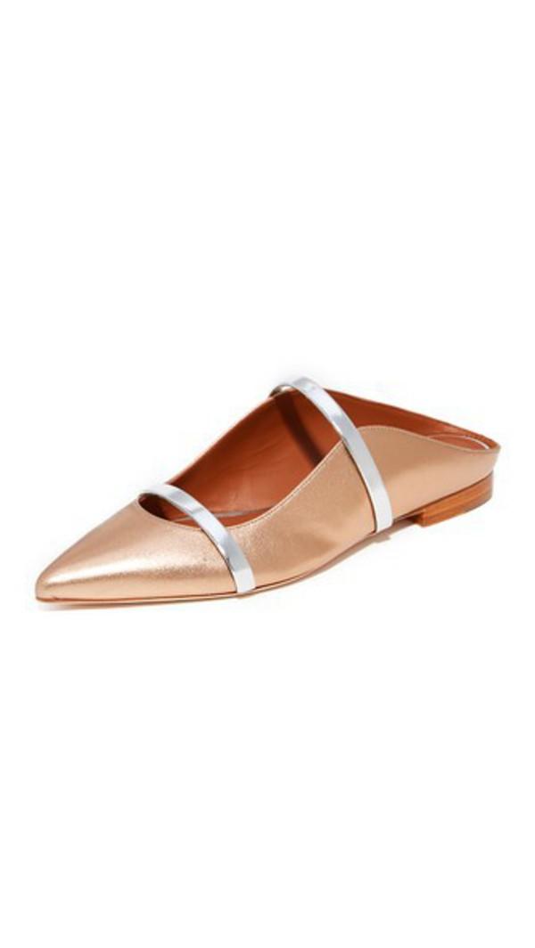 Malone Souliers Maureen Flat Slides in gold / silver