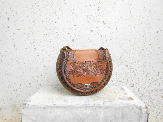 Vintage Vegetable Hand Tooled Brown Leather by VindicoShop on Etsy