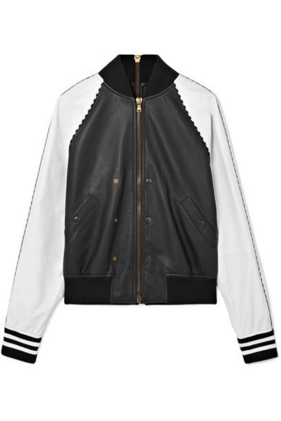 jacket bomber jacket zip embellished leather black