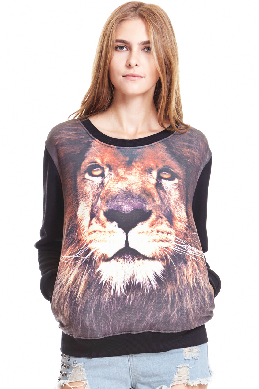 ROMWE | ROMWE Lion Head Print Long Sleeved Black Sweatshirt, The Latest Street Fashion