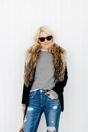 luella & june,blogger,jacket,jeans,fur collar coat,fall outfits