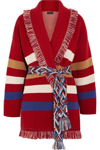 cardigan jacquard knit red sweater