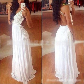 2014 new sexy women summer boho long maxi evening party beach dresses floral chiffon dress white