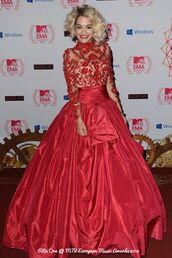 dress,red dress,red prom dress,ball gown dress,rita ora,vintage flower prom dress