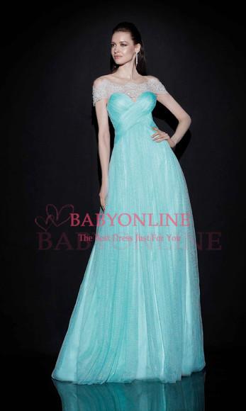 prom dress evening dress light blue airy tulle dress