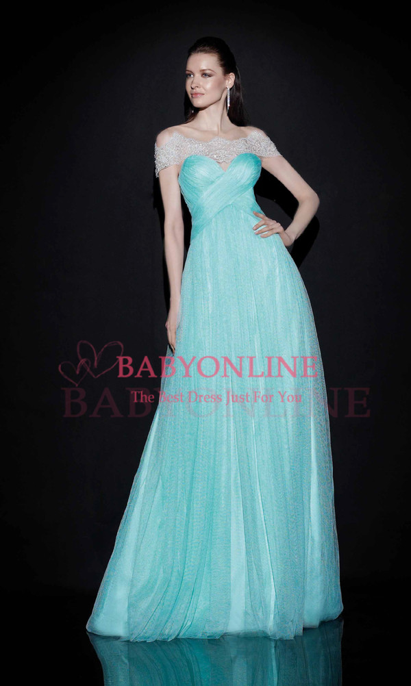 prom dress evening dress light blue airy tulle dress dress