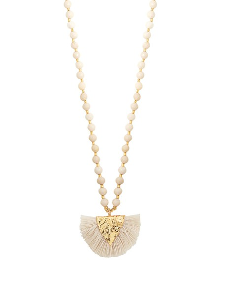ELISE TSIKIS tassel beaded necklace pendant white jewels