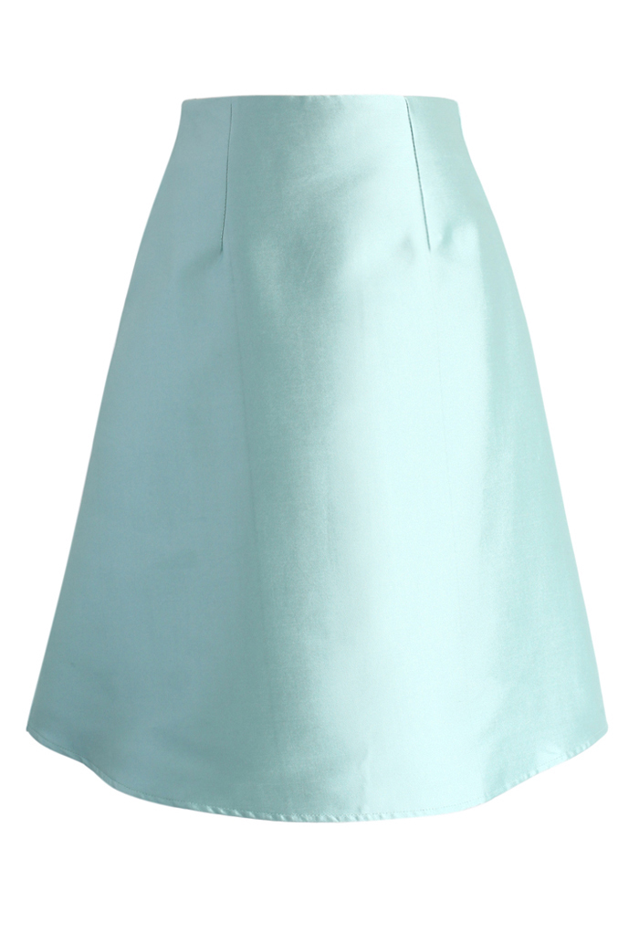Textured A-line Skirt in Mint - Retro, Indie and Unique Fashion