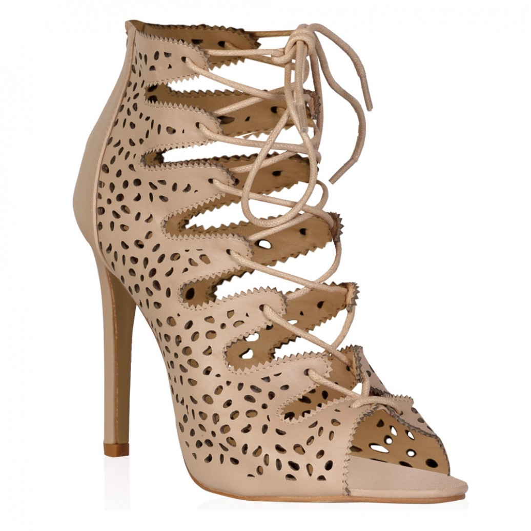 Nude PU Cut Out Lace Up Heel