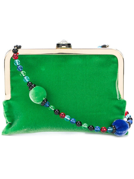 mini women beaded bag mini bag velvet green
