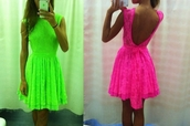 dress,prom dress,lace dress,lace,neon,open back,open backed dress,skater dress,summer,summer dress