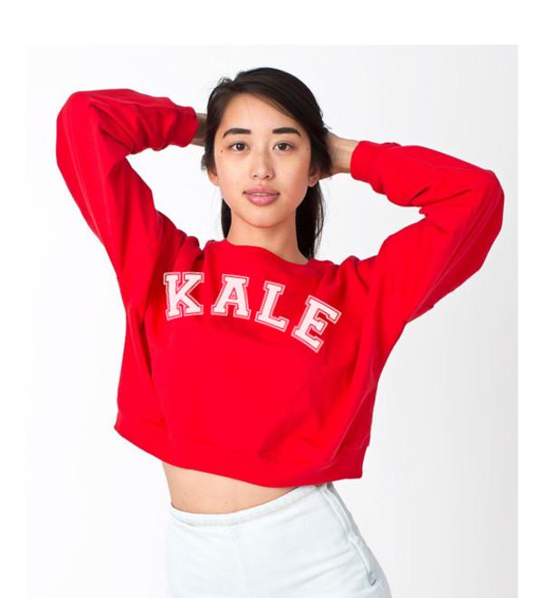 kale kale sweater kale sweatshirt cute top fashion tops crop tops cropped sweater crop sweatshirt red sweater statement tees american apparel womens sweatshirt