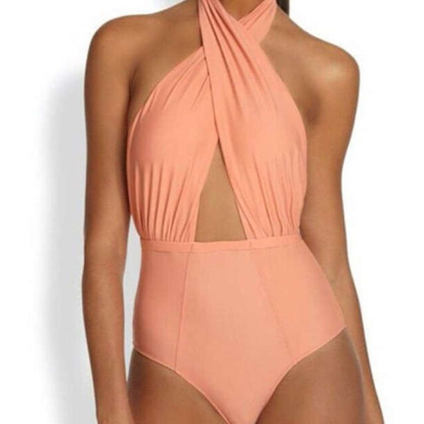 swimwear coral one piece swimsuit coral colored one piece highwaisted