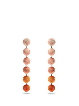 earrings silk orange jewels