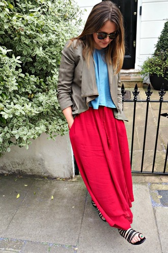 blogger jacket maxi skirt red skirt flat sandals