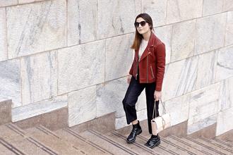 onto my wardrobe blogger leather jacket cropped pants handbag american vintage