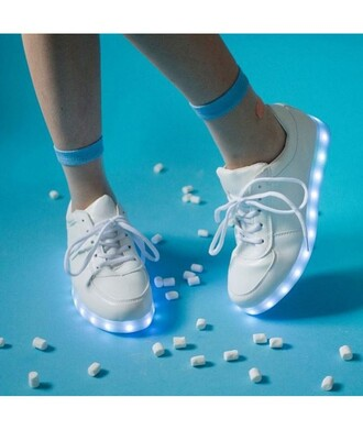 shoes sneakers glow in the dark led shoes usb charger lights trendy instagram tumblr light light blue white white sneakers casual dope edgy socks mesh hippie it girl shop transparent indie