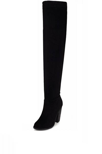 Black faux suede thigh high chunky heel boots