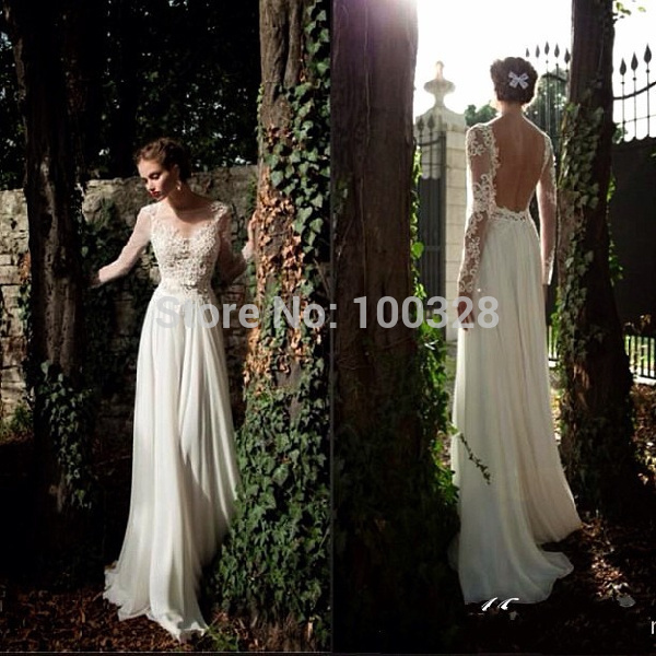 Aliexpress.com : buy 2014 new design custom made floor length court train full sleeve scoop neckline with appliques backless a line wedding dresses from reliable neckline lace suppliers on rose wedding dress co., ltd