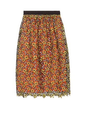 skirt midi skirt midi daisy lace yellow